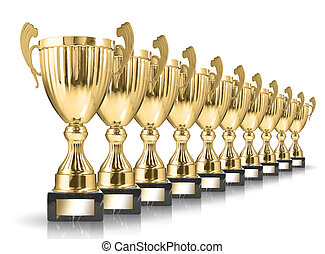 golden trophies - champion golden trophies isolated on white...