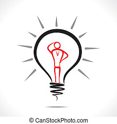 confuse men - sketch men in bulb concept vector