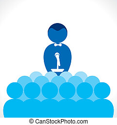 business speaker - business leader speak to team member...