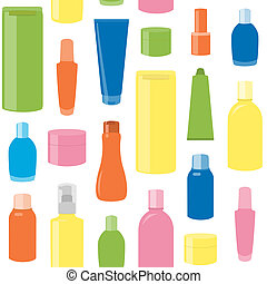 Seamless pattern with cosmetic bottles - Bright seamless...