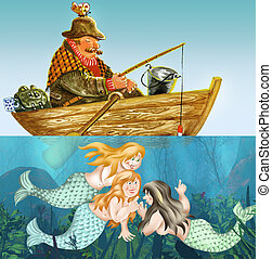 Fisherman and mermaids - Fisherman fell asleep in a boat...