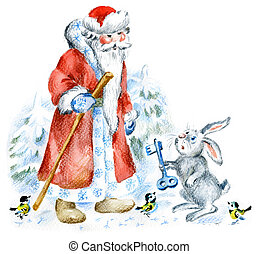 Santa and hare in winter forest