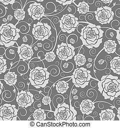 Floral background - Vector black and white seamless pattern...