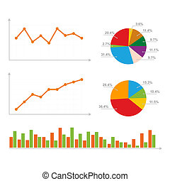 Charts, Statistics and Pie Diagram. Vector Illustration.