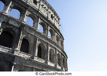 Coliseum amphiteater in Rome: detail of the facade