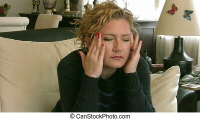 Woman with migraine - Woman having sinus pain