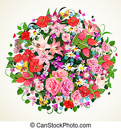 Round floral ornament for your design