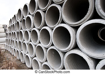 Thirty inch Culverts - Stacks of 30in.culverts. All stacked...