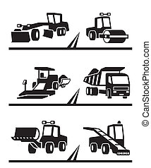 Road construction machinery - vector illustration