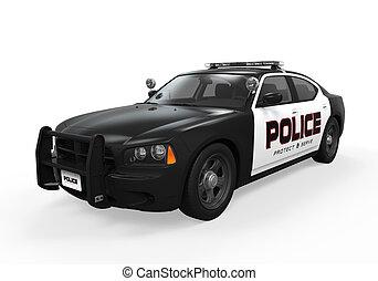 polícia, car, isolado