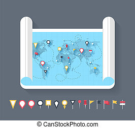 Map markers - Vector set of different types of flat map...