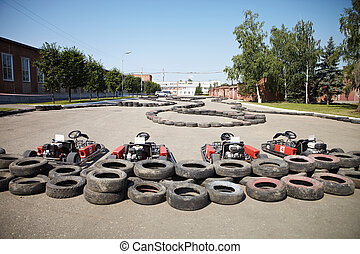 Kart Racing Cars at pit stop