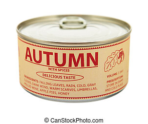Concept of seasons. Autumn. Tin can. Clipping path included.