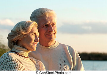 Happy old couple - Beautiful happy old couple resting...