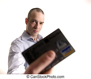 dont woried be happy with a credit card - a man holding a...