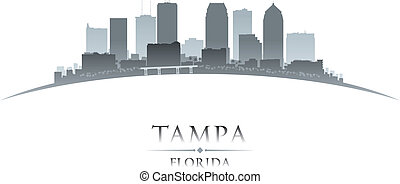 Tampa Florida city silhouette white background - Tampa...