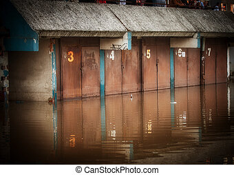 Flooded garage in the city