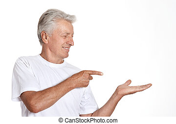 Mature man pointing with his finger - Mature man pointing...