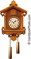 vintage wooden cuckoo clock - vector illustration of vintage...