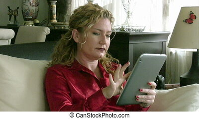 Woman using digital tablet computer