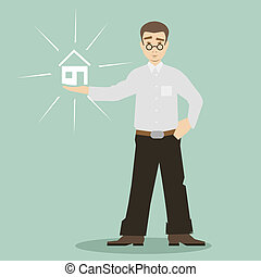 flat design style cartoon businessman holding house vector
