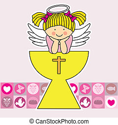 Angel in the holy grail - First communion card Angel in the...