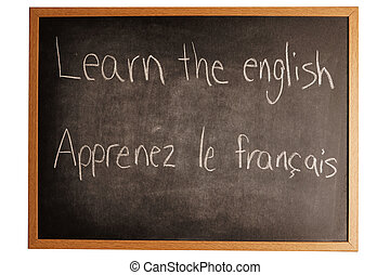 learning a language - a school board with 2 languages wrote...