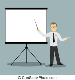 flat design businessman pointing presentation board vector -...