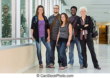 Portrait of Professor with Grad Students - Grad students...