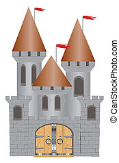 Old-time fortress - Medieval fortress on white background is...
