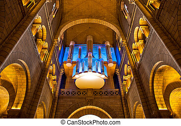 Cathedral interior and pipe organ. - Interior view and pipe...