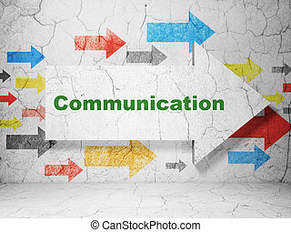 Advertising concept: arrow with Communication on grunge wall background