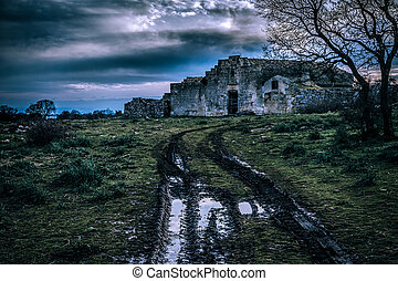 Haunted house - an ancient and abandoned rural house in...