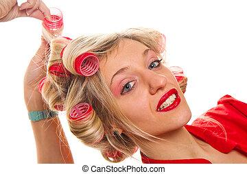 blonde girl at the hairdresser