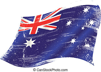 Australian flag grunge - flag of Australia in the wind with...