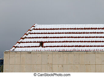 Snow on Roof Tiles