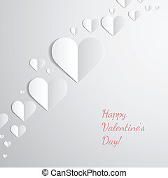 Valentines Day card with paper hearts