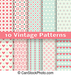 Vintage fashionable vector seamless patterns tiling - 10...