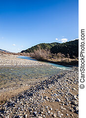 Torrent perspective - a nearly dried torrent bed with...