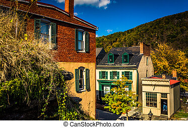 View of buildings in Harper's Ferry, West Virginia. - View...