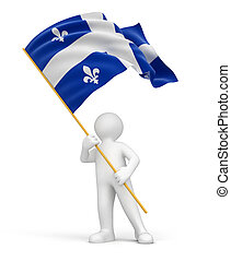 Man and flag of Quebec - Man and flag Quebec. Image with...