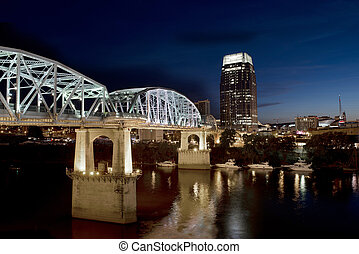 Downtown Nashville, TN skyline in the evening