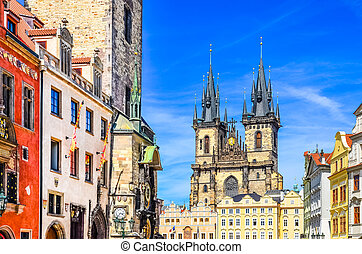 View of colorful Old town and clock tower in Prague, Czech...