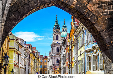 View of old town in Prague taken from Charles bridge - View...