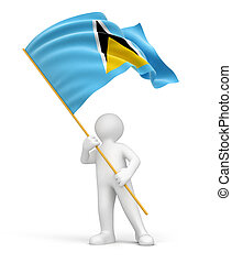 Man and Saint Lucia flag Image with clipping path