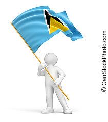 Man and Saint Lucia flag - Man and Saint Lucia flag. Image...