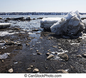 St-Lawrence river spring A - St-lawrence Fleuve during the...