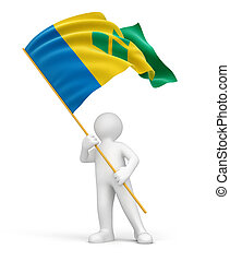Saint Vincent and Grenadines flag - Man with Saint Vincent...