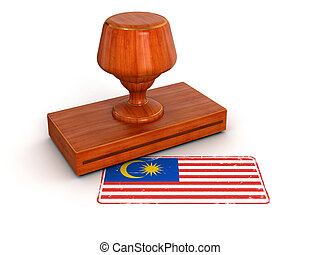 Rubber Stamp Malaysia flag Image with clipping path