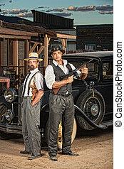 Criminal Partners - 1920s era criminal partners with guns...